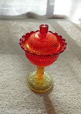 "Glass Amberina Jersey Swirl ""TALL"" Covered Compote Candy Dish L G Wright"