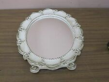 VINTAGE WHITE WOOD ORNATE OVAL WALL TABLE  MIRROR MADE IN USA