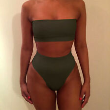 Women High Waisted Bikini Set Two-Piece Crop Top + Bottoms Swimsuit Bathing Suit