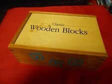 Great Collectible CLASSIC Wood Building BLOCKS (48) in Great Dovetail BOX...SALE