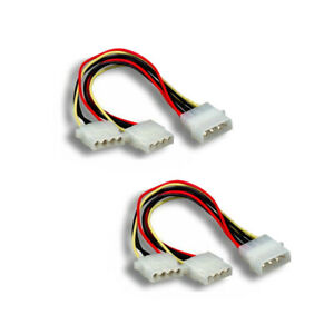 2pc 4-pin Molex Male to Y-Splitter 2X 4 Pin Molex Female IDE Power Cable Adapter