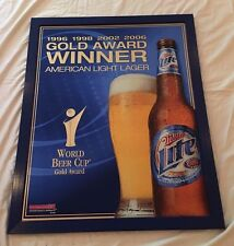 "Miller Lite Mirror Gold Award Winner World Cup Bar Pub Mancave Sign Beer 33""x27"""