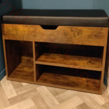 Rustic Shoe Bench Small Storage Cabinet Vintage Industrial Style Cushion Seat
