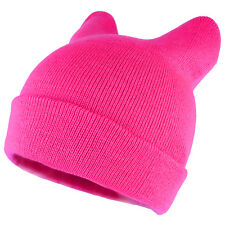 Pussyhat Women's Warm Cat Ear Folded Beanie Hat - 7 Colors - Free Ship