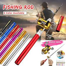 Mini Fishing Rod Bait Telescopic Portable Pocket Aluminum Alloy Pen Pole Reel US