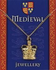 Pendente CORONA ARALDICA-placcato oro su una catena-Medievale Gioielli Reali