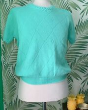 Mint Green Women's Acrylic Short Sleeve Summer Round Neck New Other-Size 14