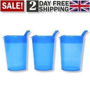 Senior Spouted Beaker Drinking Cup Plastic Lid Feeding Disability Elderly Aid 3x
