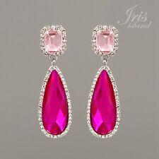 Rhodium Plated Pink Fuchsia Crystal Rhinestone Wedding Drop Dangle Earrings 1290