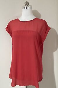 Portmans Size S Top Red Cap Short Sleeve Relaxed Fit V-Neck Keyhole Work Office