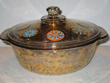 Vintage Fire King Gold and Turquoise Medallion  2 Qt Casserole Georges Briard