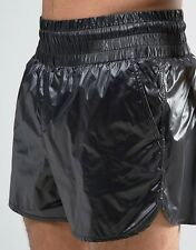 Shiny Nylon Gloss Black Wet Look Swim Shorts Gay interest Med - Large
