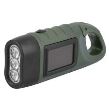 Hand Held Crank Dynamo Solar Power Rechargeable LED Flashlight 3-LED LN