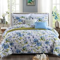 Premium Patchwork Cotton Quilt Bedspread Coverlet Throw Rug-3pcs Queen King Size