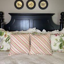 Croscill Bedding Hibiscus Collection Boudoir Pillows Cottage Stripe Scallop Edge