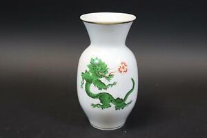 Vase Porzellan bemalt grüner Mingdrache Meissen 1.Wahl (DM568)
