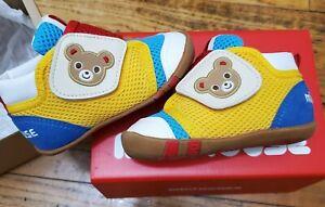 New Miki House Children's Yellow Blue White Bear Strap Shoes 13cm