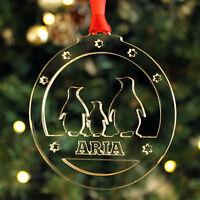 Personalised Name Penguins Christmas Tree Decoration Keepsake Xmas Bauble Gift