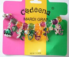 Mardi Gras Beaded Charm Stretch Bracelet / New Orleans / Fat Tuesday