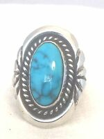 Vintage Sterling Silver Native American Navajo Ring Turquoise Sign MH Size 5.75