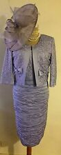 NEW!...IZABELLA LILAC RUCHED DRESS & BOW TRIMMED JACKET