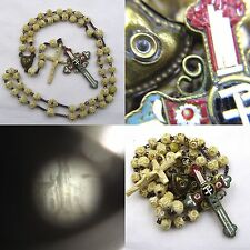 † HTF c1800s ANTIQUE STANHOPE BOVINE CARVED ROSARY & MICRO MOSAIC BRASS CROSS †