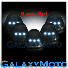 99-15 Ford Super Duty F250+F350+F450 Cab Roof 5pcs WHITE LED Lights SMOKE Lens