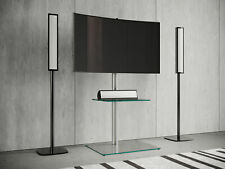 "VCM TV-Standfuß LED Ständer Fernseh Standfuss Alu Glas Universal ""Alani"