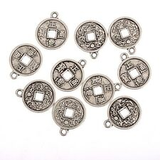 Chinese style coin Beads  Charms Tibetan Silver Pendant DIY Bracelet15*15mm10pcs