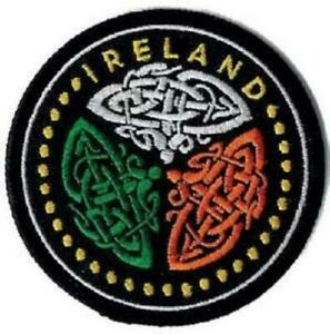 Irish Embroidered Patch round Celtic Knot - tricolour flag colours - Ireland