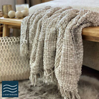 Luxury Soft Woven Knitted Thick Natural Taupe Linen Sofa Blanket Throw Fringed