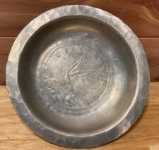Antique Small Pewter Bowl Dish Sea Bird Landscape Hand Forged Maker Mark