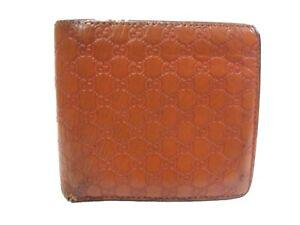 Authentic GUCCI Compact Bi-fold Wallet Guccissima Leather Orange