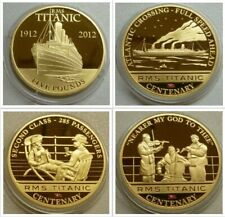 RMS Titanic 24ct Gold-plated Crown Size Coins Jersey £5 Cook Islands $1 See Menu