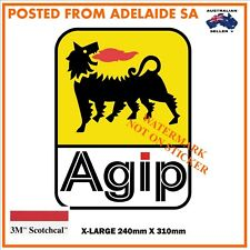 NEW AGIP FUEL OIL PETROL DECAL STICKER LABEL  X-LARGE 240mm DIA / WIDE HOT ROD