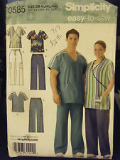 Simplicity 0585 His & Hers Scrub Tops & Pants Pattern - Size XL-XXXL