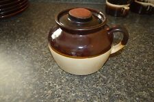 BROWN & CREAM 2 TONE BEAN POT W/ LID