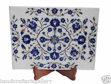 """9""""x12"""" Marble Serving Tray Lapis Floral Inlay Marquetry Art Kitchen Decors H1342"""