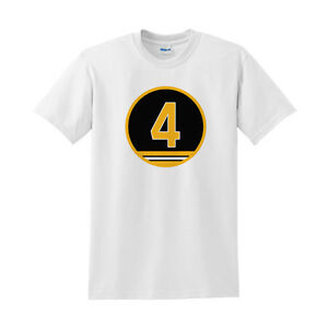 Bobby Orr Shirt Number 4 Shirt Boston Bruins White Shirt with #4 Hockey Shirt