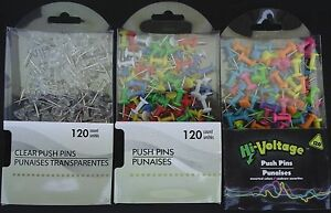 PUSH PINS for Display Boards, SELECT COLOR: CLEAR PRIMARY OR NEON 120 Pins/Pack