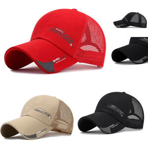 Trucker Hat Mesh Baseball Cap Snapback Adjustable Hip Hop Flat Solid Women Men