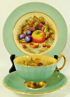 3pc Trio Set AYNSEY ENGLAND Orchard Fruit TEAL Tea Cup Saucer & Dessert Plate