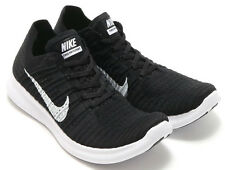 New $130 Wmns Nike Free RN Flyknit 831070001 Black/ White Running Shoes Size 7
