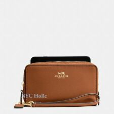 New Coach F53896 Double Zip Phone Wallet Saddle Crossgrain Leather Wristlet