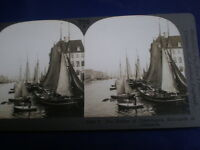 Old Stereoview photograph the harbour Copenhagen Denmark by Keystone c1900s