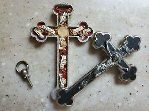 VINTAGE CRUCIFIX CROSS RELIC RELIQUARY 8 SAINTS CHRISTIAN RELIC