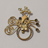 Vintage Jewerly Abstract Floral Bouquet Rhinestone Fx Pearl Brooch Pin Gold Tone