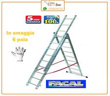 Scala alluminio telescopica Facal Euro Stilo 3 rampe x 9 gradini mt 6,84