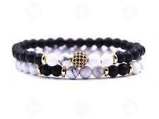 Two Howlite Natural Stone Beads Bracelet Onyx Agate Reiki Meditation Gift UK