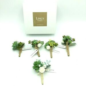Ling's Moment Wedding 5 Boutonnieres Mens Groom Groomsman Succulents Artificial